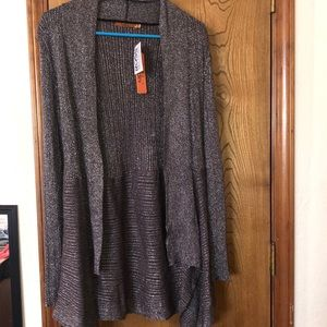 NWT- sparkly pewter color cardigan